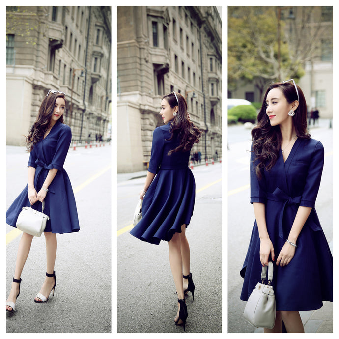 Navy overlap Skater Dress