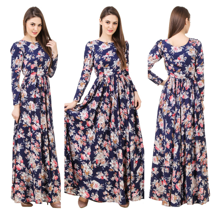 Navy Blue Floral Maxi Dress