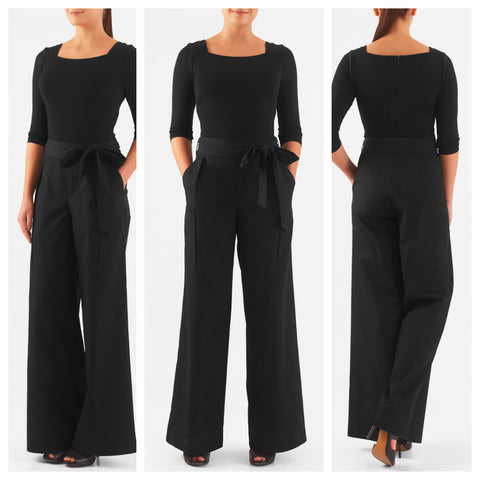 Top and Pant Two Piece Black Set