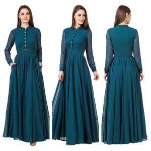 Full Sleeves Green Button Maxi Dress