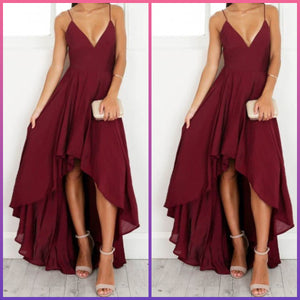 Maroon High Low Spaghetti Strap Dress