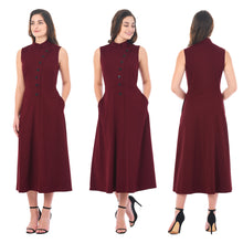 Wine Long Button Down Dress