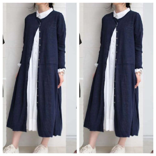 Navy Linen Jacket with White Summer cool Dress
