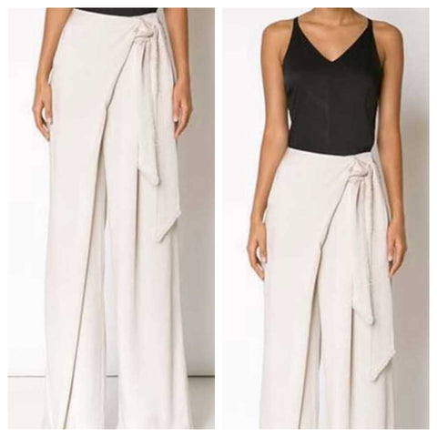 Off White Belted Flared Pants