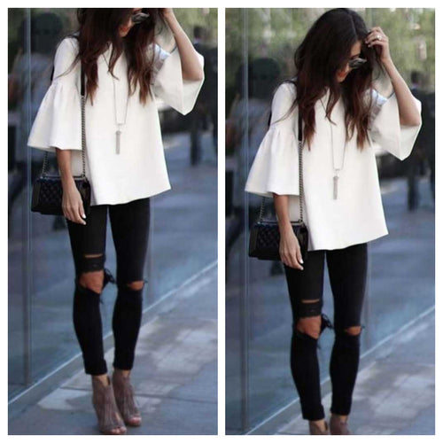 White Umbrella Sleeves Top