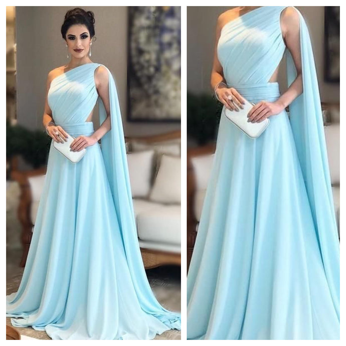 Sky Blue One Shoulder Cocktail Maxi Dress