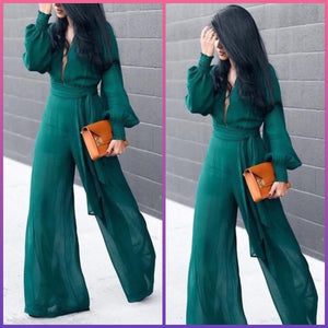 Emerald Green Flared Jumpsuit