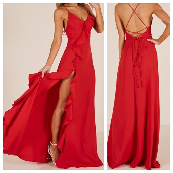 Red Side Frill Spaghetti Backless Dress
