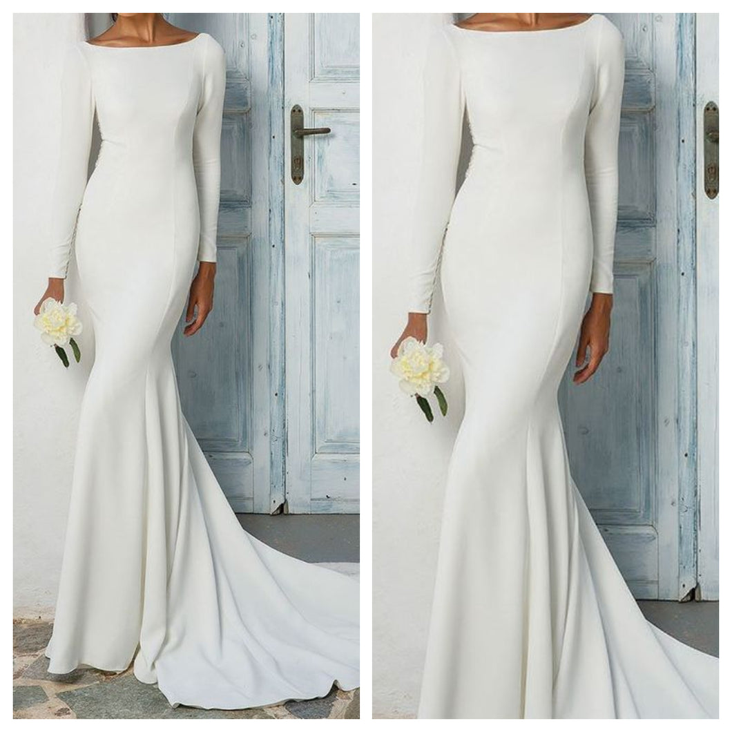 White Full Sleeves Trail Gown