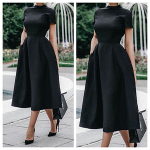Panther Black Midi Semi Formal Dress