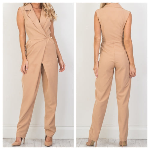 Beige Collared Jumpsuit