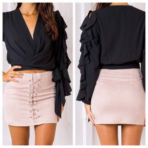 Black Frill Sleeved Top