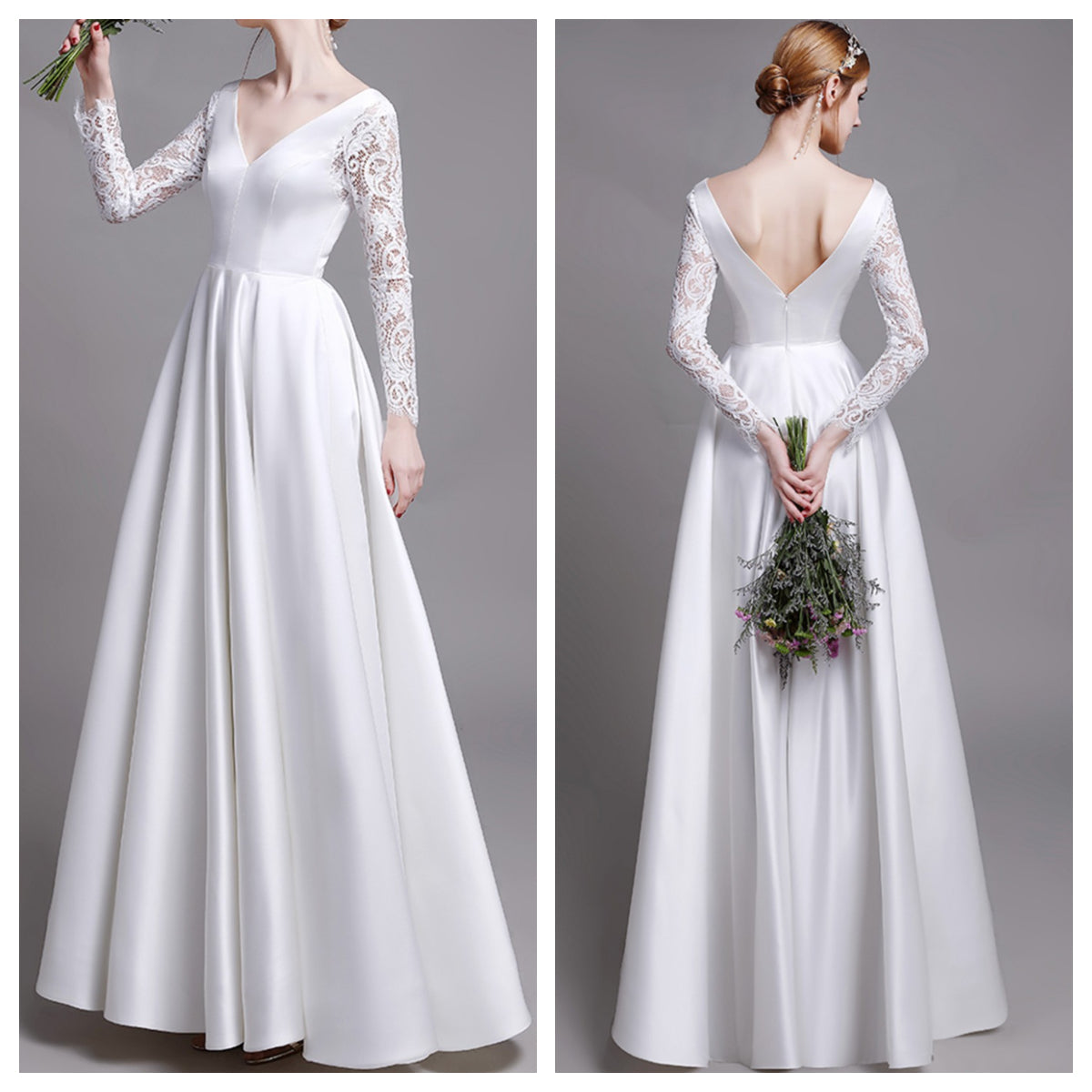 Lace Long Sleeve V Neck & Back A-Line Satin Wedding Dress