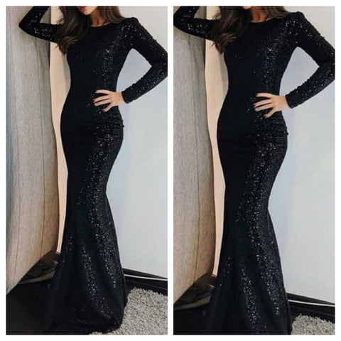 Black Sequins Bodycon Fishtail Maxi
