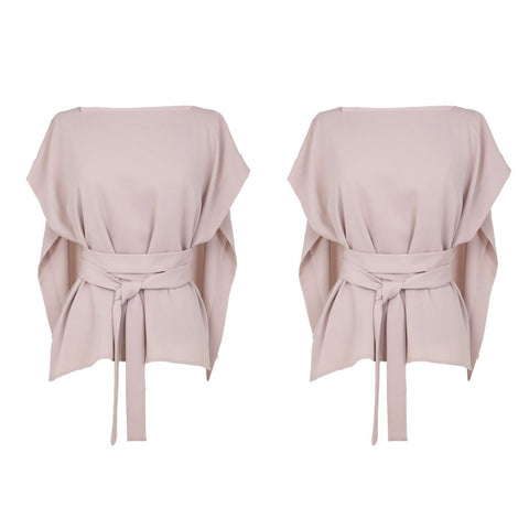 Peach Cape Belted Top