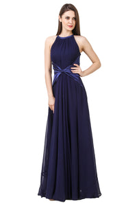 Navy Blue Halter Maxi Dress(satin knot)