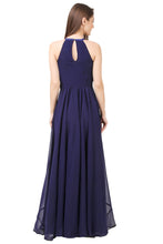 Navy Blue Satin Knot Maxi Dress