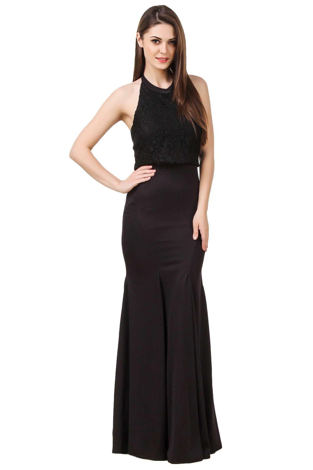 Black Lace Halter Maxi Dress
