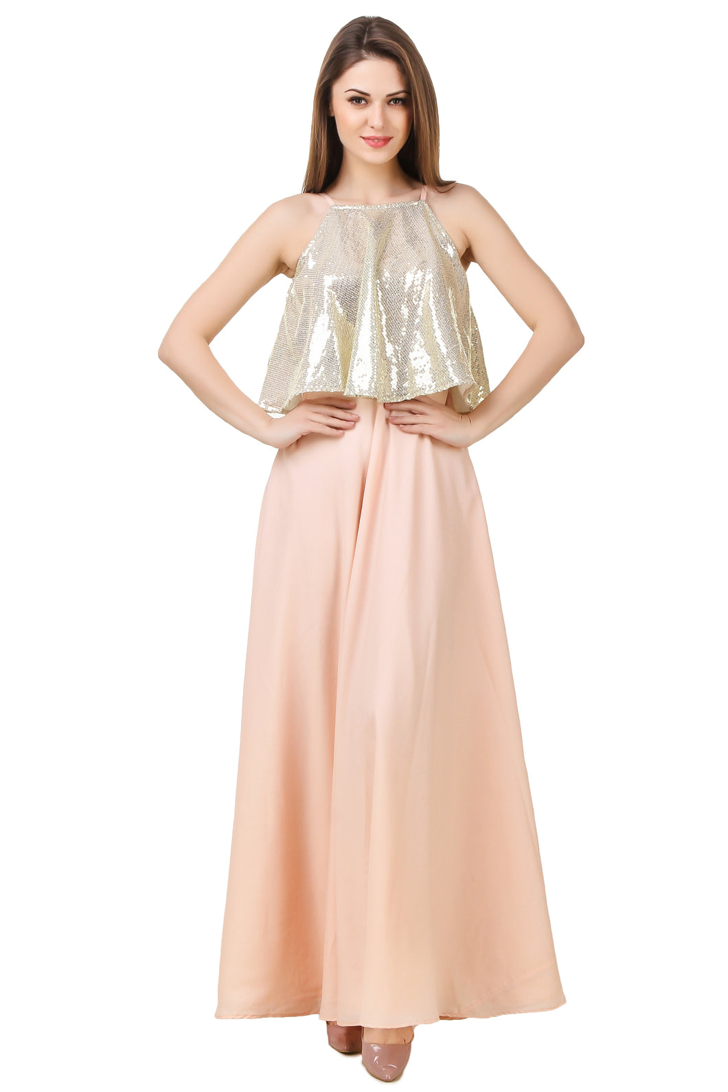 Light-Peach Maxi Dress With Sequin Top Overlapping