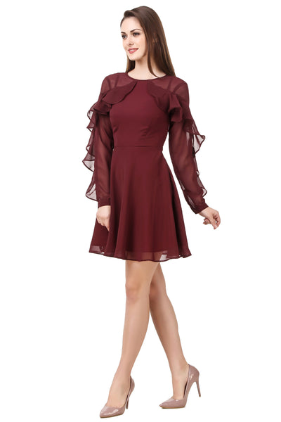 Burgundy-Wine Frill Sleeves Skater Dress