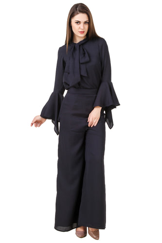 Navy Blue Bell-Sleeves Top With Pants