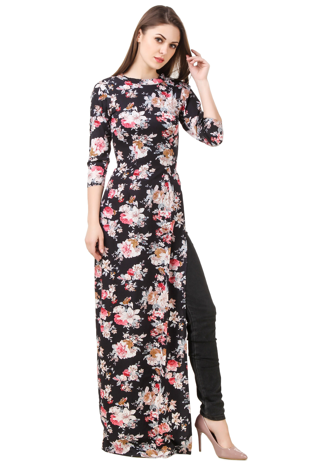 Black Floral Full-Sleeves Maxi Top With Slit