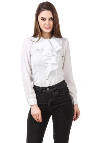 Ruffle Neck White Shirt