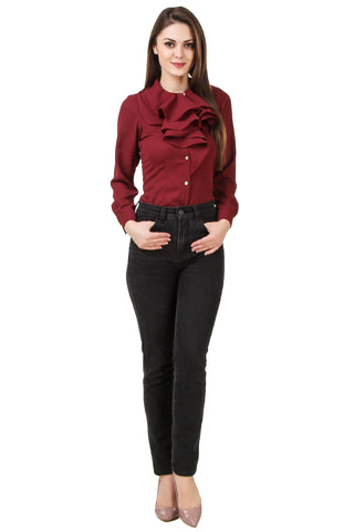 Ruffle Neck Maroon Shirt