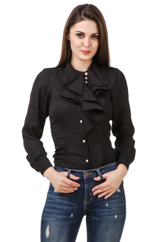 Ruffle Neck Black Shirt