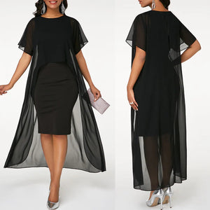 Black Georgette Cape Sleeves Midi Dress