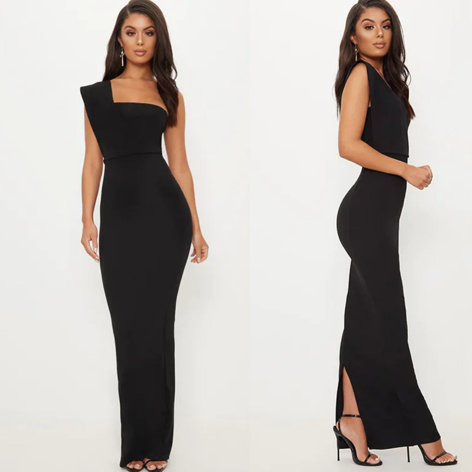 Black One Shoulder Scuba Maxi Dress