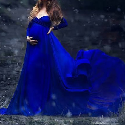 Royal Blue Short Trail Maternity Dress