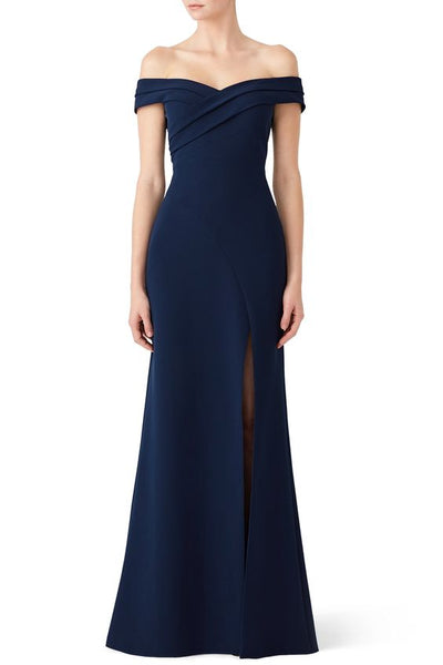 Off Shoulder Navy Scuba Maxi Dress