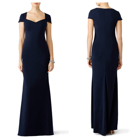 Navy Cup Sleeves Banana Crepe Maxi Dress