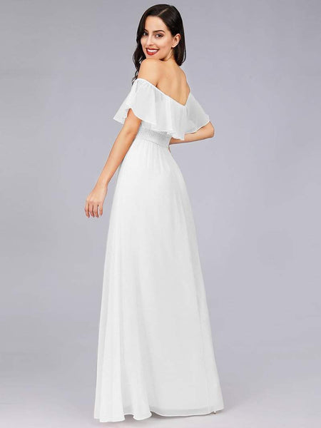 White Off Shoulder Georgette Maxi Dress
