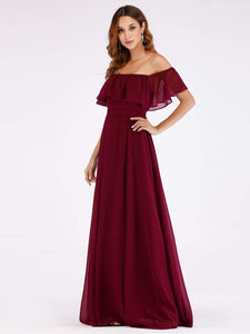 Maroon Off Shoulder Frilled Maxi Dress