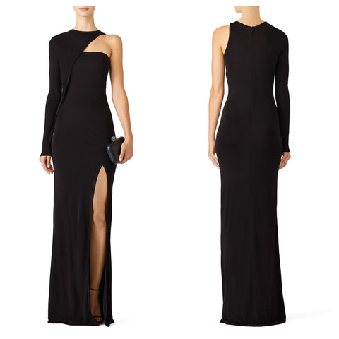 Black One Sleeve Front Slit Maxi Dress