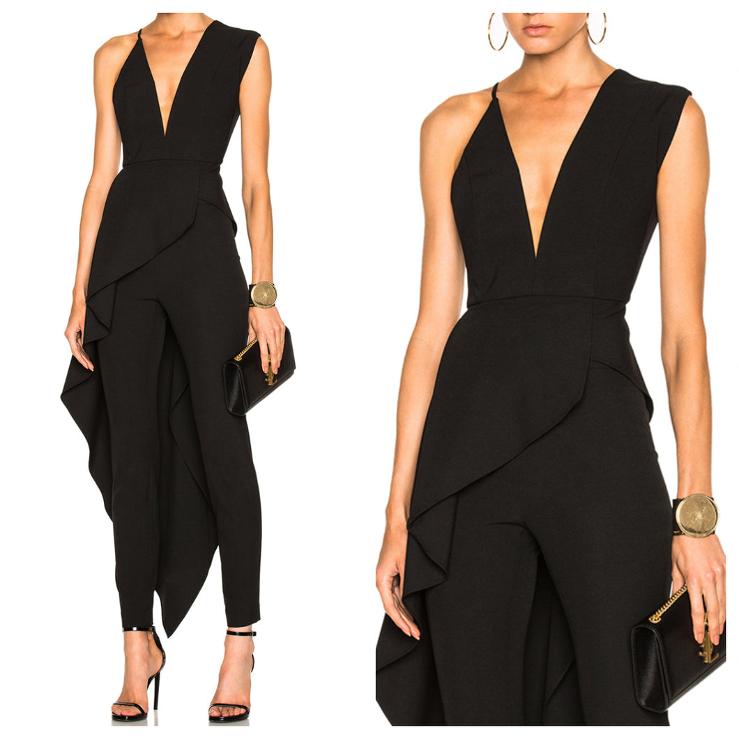 Black V Neck Asymmetrical Flap Jumpsuit
