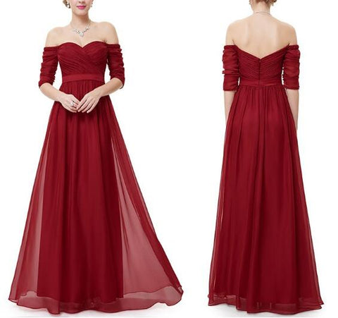 Maroon-Red Off Shoulder 3/4th Maxi Dress