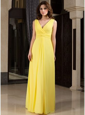 Yellow V Neck Knotted Maxi Dress