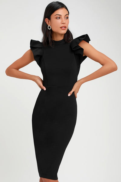 Black Scuba Ruffled Backless Bodycon Dress