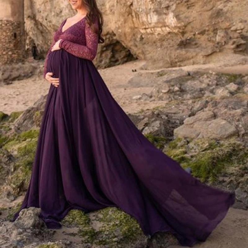 Maternity V-Neck Long Sleeve Splicing Maxi Dress