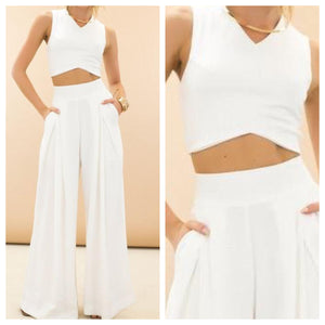 White Crop top and Pants Set