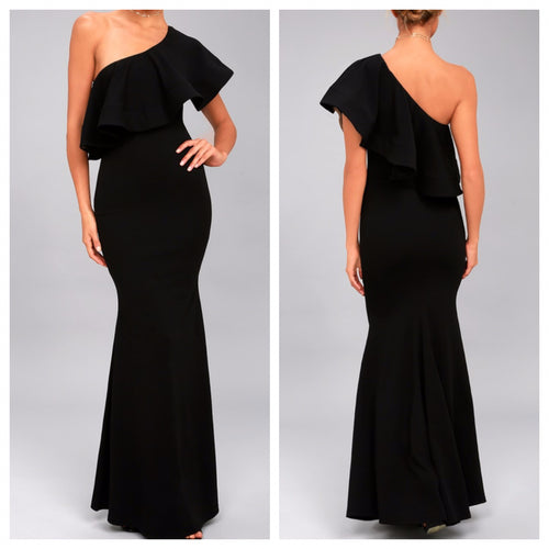 Black Frill and Flare bodycon Scuba Maxi Dress