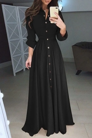 Long Sleeve Button Lace-Up Dress-Black