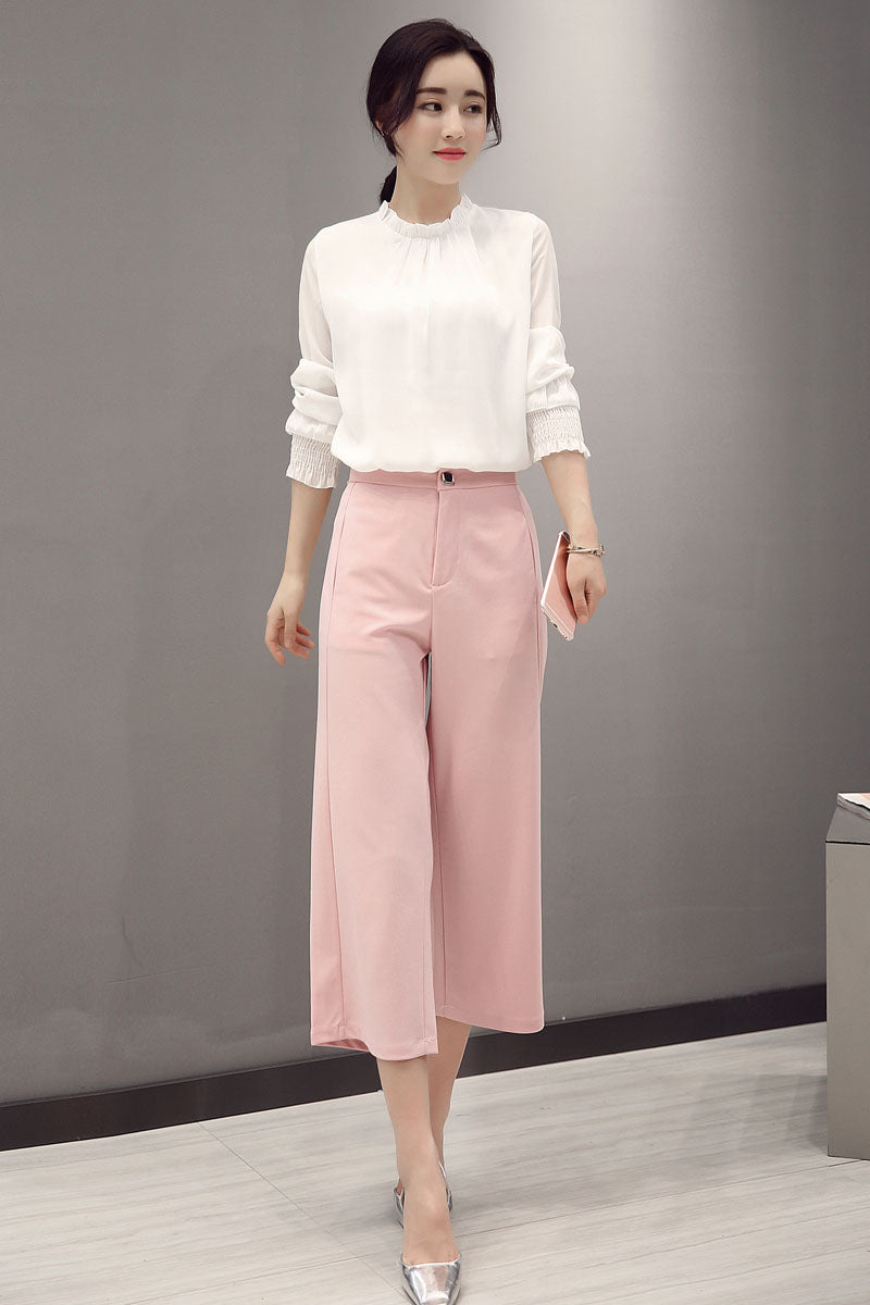 High Neck White Top with Pink Flared Pants