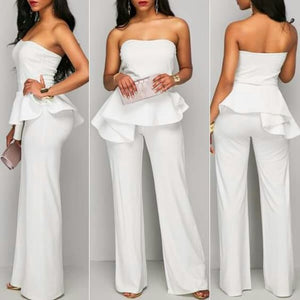 White Tube Frill Jumpsuit