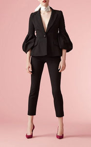 Black Bubble Sleeves Blazer