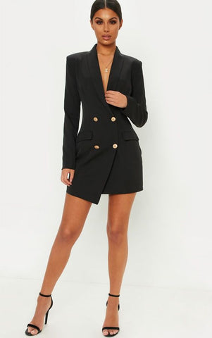 Black Double Breasted Coat Dress