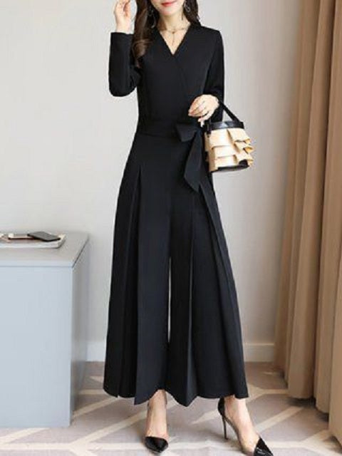 Black Office Wear Formal Banana Crepe Flared Bottom Jumpsuit